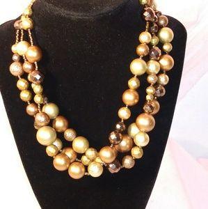 Multi strand Beaded Brown & Cream Necklace
